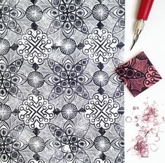 Several examples of hand-carved stamps used to create repeating patterns. Stamp Printing, Printing On Fabric, Screen Printing, Eraser Stamp, Linoleum Block Printing, Stamp Carving, Stencils, Fabric Stamping, Handmade Stamps