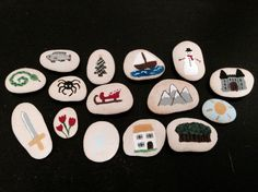 Childrens game story stones with fabric bag - Christmas extras! on Etsy, $22.90