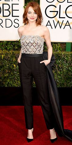 Emma Stone in custom #Lanvin (jan 2015). Love how she didn't just pick a ball gown to wear.