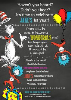 Dr Seuss Birthday Invitation Best Of Dr Suess Birthday Chalkboard Invitation High Dr Seuss Party Ideas, Dr Seuss Birthday Party, First Birthday Parties, Birthday Party Themes, Birthday Ideas, Birthday Banners, Farm Birthday, Birthday Board, Dr. Seuss