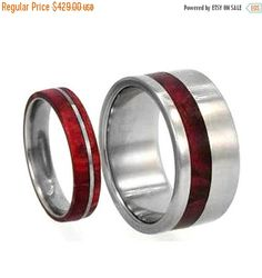 Wedding Sale Redwood Ring Set Titanium Redwood Inverse His and Hers Bands Ring Armor Included