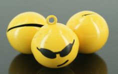 Set of Two Adorable Cool Yellow Smiley Charm Bells (130698)