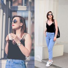 Daria R. - lace top, mom jeans, adidas superstar