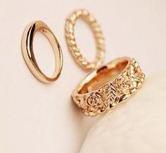 1200f2015 women fashion rose ring三合一戒指指环组合