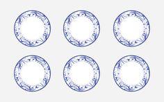 Morandi Sisters Microworld: Printable Plates - White with Blue Decors - Piattini da Stampare