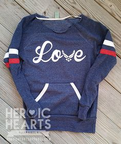 "SML - Slouchy Off Shoulder Air Force ""Love"" Sweatshirt size small"