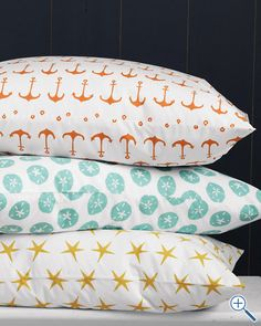 Mini-Print Percale Bedding from Garnet Hill - Be still, my heart! Those orange anchors would lend a cute, funky contrast to my Lilly Pulitzer Fallin' In Love bedding!