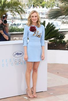 Diane Kruger in a Dolce & Gabbana mini dress and Jimmy Choo sandals at the 2015 Cannes Film Festival