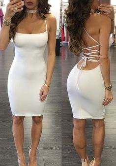 New Women White Drawstring Condole Belt Scoop Neck Fashion Mini Dress 98bf6be77af9