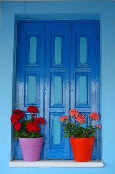 Colorful window, Greece (by * caludia * assente ma vi penso!)