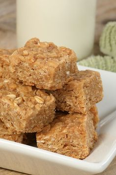 "Natural No Bake Peanut Butter Energy Bars Recipe, use half the Honey  and spread into a 12x9"" pan to get 32 bars. More than enough for an after dinner treat!☺"