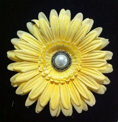 Wedding hair flower yellow  gerbera daisy. on Etsy, $10.00
