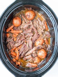 This classic pot roast recipe is just what your family needs for those busy days. Dump the ingredients in your slow cooker in the morning, delicious dinner ready in the evening. Healthy Slow Cooker, Slow Cooker Beef, Healthy Crockpot Recipes, Slow Cooker Recipes, Crockpot Meals, Pot Roast Recipes, Beef Recipes, Cooking Recipes, Crock Pot Roast