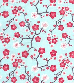 Keepsake Calico Fabric-Aqua Cherry Blossom at Joann.com