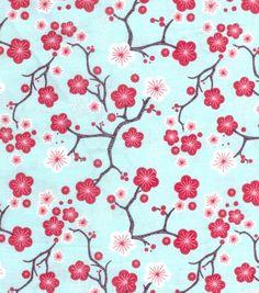 Keepsake Calico Fabric-Aqua Cherry Blossom at Joann.com