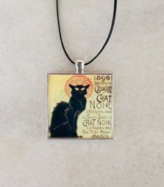 """Toulouse-Lautrec's painting """"Chat Noir"""". Large square silver tone pendant necklace for Art (and Cat!) lovers. Covered with resin."""