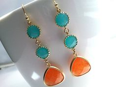 Spring Collection Orange and Mint Gold EarringsDrop by LaLaCrystal, $38.00
