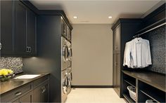 Galley-style Laundry Room