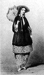 "1850-1870 costume | 1850 - 1870: Bloomer dress, ""harem pants"" and tunic top. Rational ..."