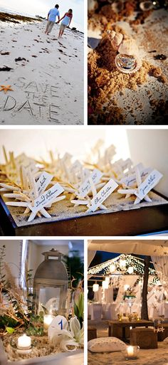 cute for save the date!! go to A beach, just on the coast, and snap photos for save the date cards..........Beach Sand Wedding Inspiration
