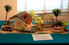 I love this miniature set. Beach house, Gazebo and deck with the woody