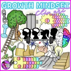 Growth Mindset clip art! A 69 piece high quality set of clip art containing a huge variety of different images depicting all things Growth Mindset!Set includes the following images: boy head silhouette (with and without head space)  girl head silhouette (with and without head space)  brain (side view and top view) chain link dumbbell weight lift bar elevator fish climbing a tree gear (in rainbow colors) key ladder light bulbs (bright and dim) mountain peak neurons padlock plant sprouts (2…