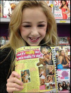 Chloe Lukasiak seeing herself in a magazine!