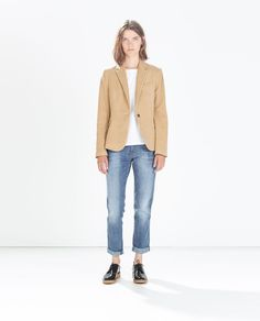 Image 1 of MOLESKIN BLAZER WITH ELBOW PATCHES from Zara
