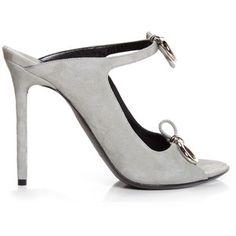 Balenciaga Bouclé-bow suede mule sandals
