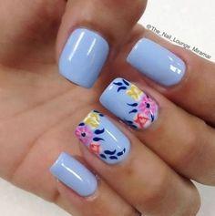 Stunning Blue Nail Art Designs Trending Now - Nails C Lace Nail Art, Lace Nails, Floral Nail Art, Flower Nails, Cool Nail Art, Light Blue Nails, Baby Blue Nails, Nail Art Designs, Nails Design