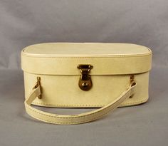 Vintage Ivory Suitcase // White Makeup Case by independencevintage, $27.00