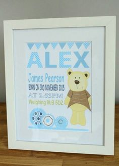 PERSONALISED New Baby//Birth Print Solid Oak BOYS PIRATE SHIP FRAMED Picture