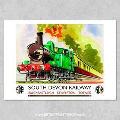 Print of South Devon Railway Buckfastleigh Staverton Totnes poster. Posters Uk, Train Posters, Railway Posters, Illustrations And Posters, Bus Travel, Travel And Tourism, Train Travel, Train Drawing, Vintage Boats