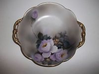 Vintage HP Victorian Style Purple Rose Serving Bowl Noritake Japan Gold Handles