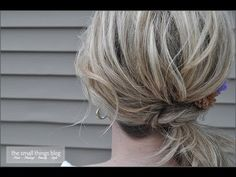 I really like this idea. I can't wait to try it with my hair...even though it's super long. Wish me luck! Side ponytail with a knot.