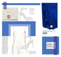 """Blue and white."" by zeljkaa ❤ liked on Polyvore featuring Maison Rabih Kayrouz, La Perla, Christian Dior, Nina Zarqua, silk and velvet"