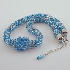 Crochet Bead Rope Aqua Necklace