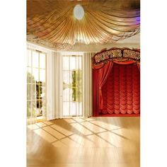 window curtains backdrop indoor stage portrait bright wooden scene studio backdrops hall performance child polyster greendecor artistic floor ide simple