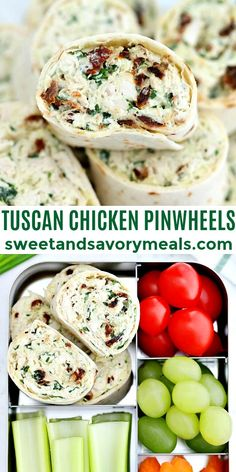 Tuscan Chicken Pinwheels are rolled with a creamy chicken filling #tuscanchickenpinwheels #pinwheels #schoollunch #easyrecipe