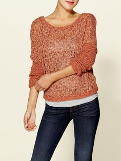 Mixed Yarn Slubby Pullover Sweater  by Free People