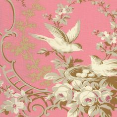 RJR Robyn Pandolph Hope Cove Pink Bird Toile by NauvooQuiltCo