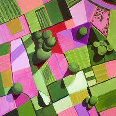 "Saatchi Art Artist Toni Silber-Delerive; Painting, ""Pink and Green Fields"" #art"
