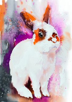 Sunny rabbit watercolor painting print animal by SlaviART                                                                                                                                                                                 More