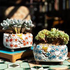 Set of 2 Korean styles succulent planter, ceramic cactus pot, indoor planter pot, succulent pot, succulent planter -Free USA shipping Indoor Planters, Flower Planters, Diy Planters, Ceramic Planters, Flower Pots, Planter Pots, Rustic Planters, Tall Planters, Modern Planters