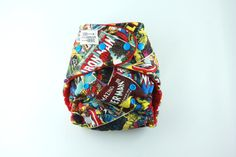 One Size Fitted Cloth Diaper 8-35 lbs with Heavy Organic Cotton Fleece and Cotton Velour - Turned and Top-stitched - Marvel Comic print