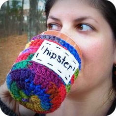Hipster funny coffee mug tea cup cozy rainbow red blue green crochet handmade cover.