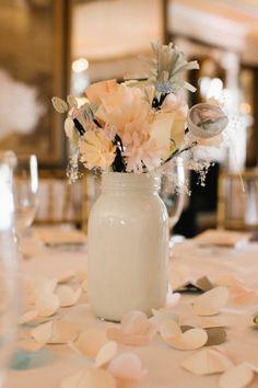 painted white mason jar vase with fabric flowers