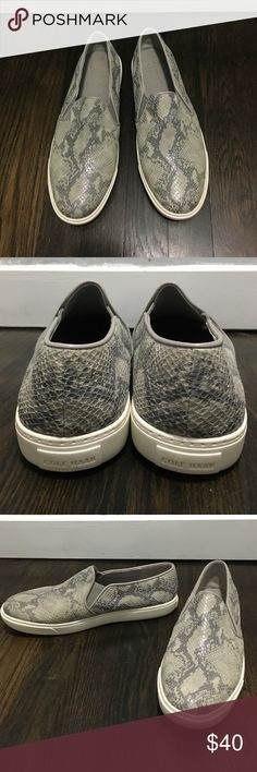 Cole Haan snakeskin slip ons Lightly worn Cole Haan Shoes