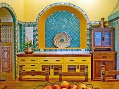 Yellow: Mexican-Inspired - 30 Bright, Bold and Colorful Kitchens on HGTV - like the style but not the colors