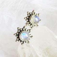 Aria - Rainbow Moonstone & Sterling Silver Stud Earrings – Druzy Dreams